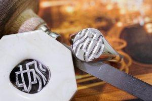 【Semi-custom made】Hand Engraved Oval Signet Ring(Sv925) 「KANJI-池」_完成3