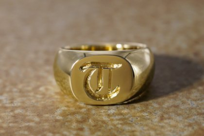 Bespoke Order】Hand Engraved Classic Oval Square Signut Ring(Brass)T_thumbnail